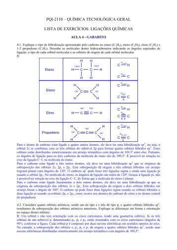 química tecnológica geral lista de exercícios: ligações químicas
