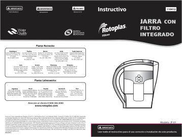 10 Instructivo Jarra purificadora baja - Rotoplas