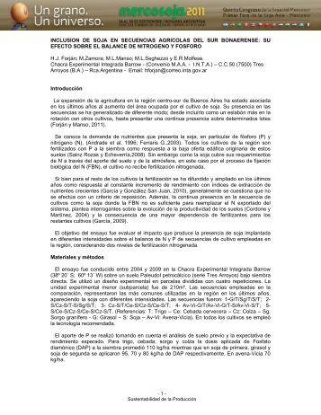 INCLUSION DE SOJA EN SECUENCIAS AGRICOLAS DEL ... - acsoja