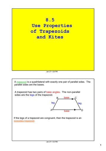 6 6 trapezoids and kites 6-6 trapezoids and kites = 11 jl = km = 11 find each measure coordinate  geometry for each quadrilateral with the 8 given vertices, verify that the.