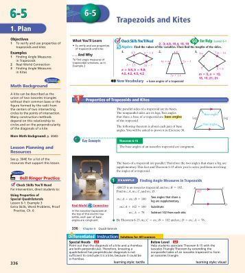 6 6 trapezoids and kites Ch 6 homework and workbook answers notes on trapezoids and kites from wyzantcom  6-1_answers[1]pdf (285k) unknown user.