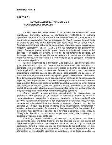 PRIMERA PARTE CAPÍTULO I LA TEORÍA GENERAL DE SISTEMA ...