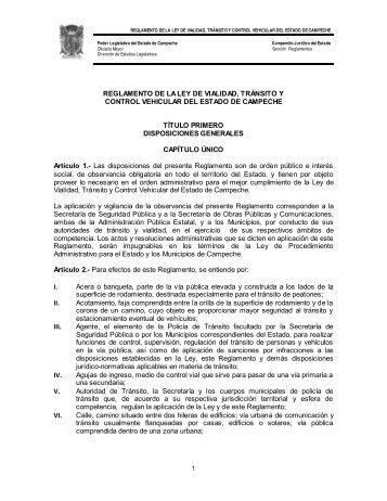 reglamento de la ley de vialidad, tránsito y control vehicular del ...