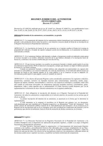 REGIMEN JURIDICO DEL AUTOMOTOR - Dnrpa