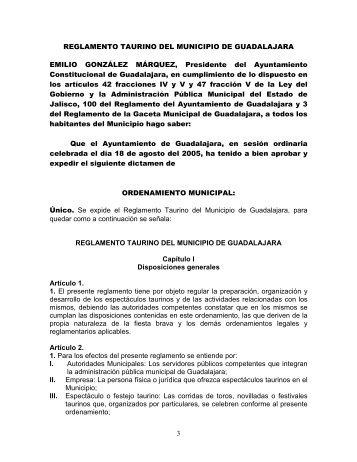 Reglamento Taurino del Municipio de Guadalajara Reformado