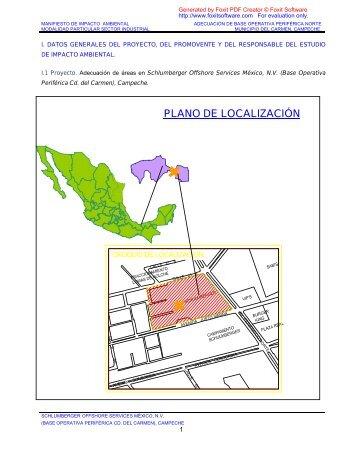 PLANO DE LOCALIZACIÓN - sinat - Semarnat