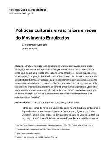 Políticas culturais vivas - Fundação Casa de Rui Barbosa