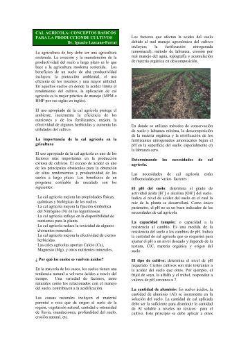 CAL AGRICOLA: CONCEPTOS