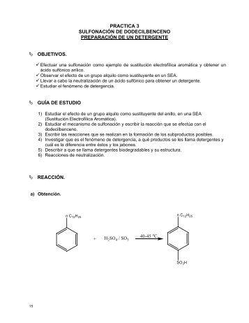 Sulfonacion de dodecilbenceno - quimica organica