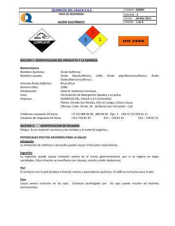 quimicos del cauca sas acido sulfónico - qbasica.com :: Química ...