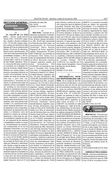 SECCION GENERAL Contratos Sociales Convoca- torias