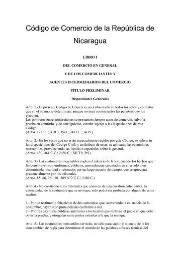 Código de Comercio de la República de Nicaragua - Poder Judicial