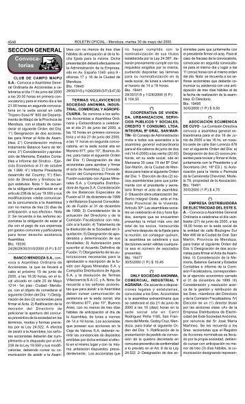Boletin Oficial N 26165 del 30/05/2000 - Gobierno de Mendoza