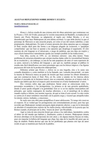 ALGUNAS REFLEXIONES SOBRE ROMEO Y JULIETA Romeo y ...