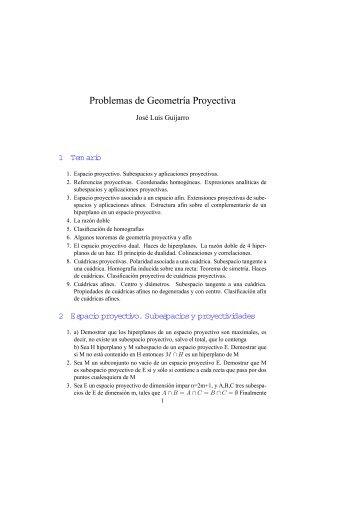 Problemas de Geometría Proyectiva