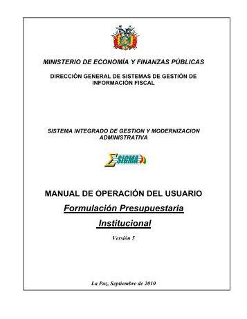 Formulación Presupuestaria Institucional - Sigma