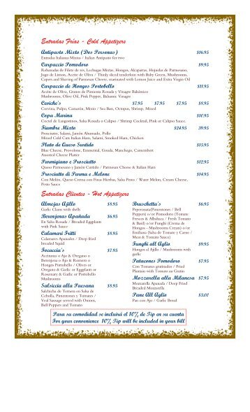 Casino valle verde menu