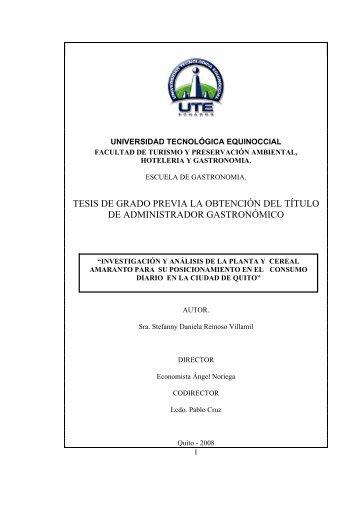 de administrador gastronómico - Universidad Tecnológica Equinoccial