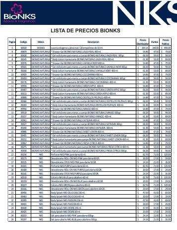 LISTA DE PRECIOS BIONKS 2012