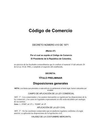 Código de Comercio - Cámara de Comercio de Neiva