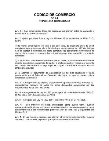 CODIGO DE COMERCIO - Bufete Ramos Messina