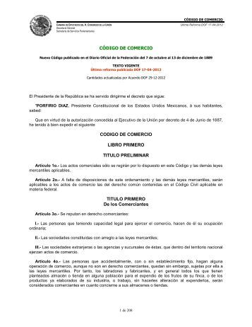 Código de Comercio - Cámara de Diputados