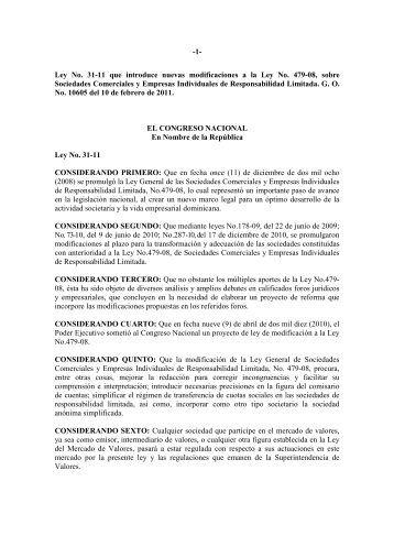 ley no. 31-11.pdf - Cámara de Comercio y Producción de Santiago