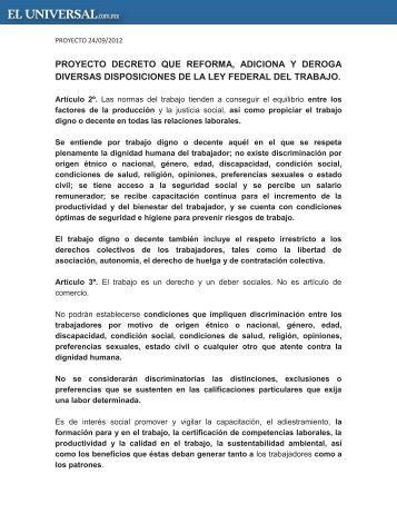 proyecto decreto reforma laboral