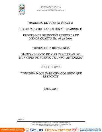 """""""MANTENIMIENTO DE VIAS TERCIARIAS DEL MUNICIPIO DE ..."""