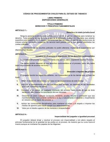 CODIGO DE PROCEDIMIENTOS CIVILES - Tribunal Superior de ...