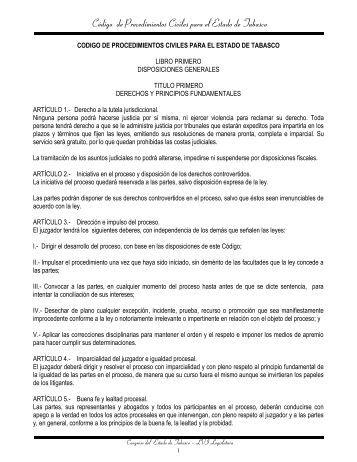 Código de Procedimientos Civiles para el Estado de Tabasco.