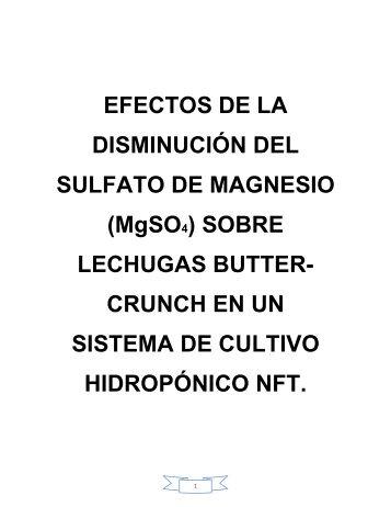 EFECTOS DE LA DISMINUCIÓN DEL SULFATO DE MAGNESIO ...