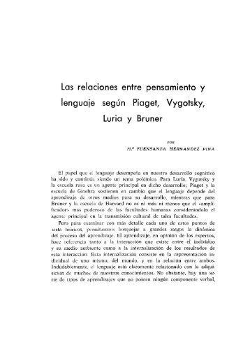 05 Las relaciones entre pensamiento segun Piaget ... - Digitum