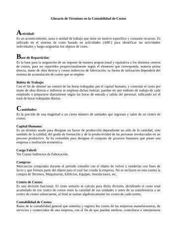 Glosario de Términos en la Contabilidad de Costos ... - SISAP