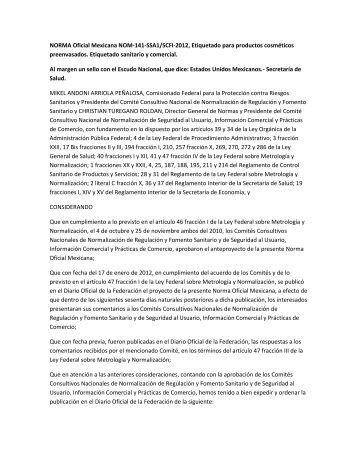 NORMA Oficial Mexicana NOM-141SS