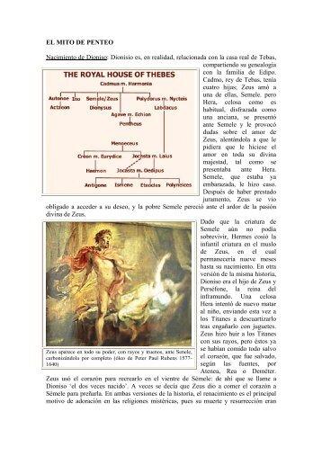 EL MITO DE PENTEO Nacimiento de Dioniso: Dionisio es, en ...