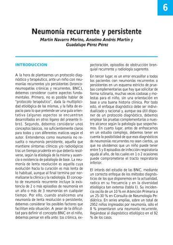 Neumonía recurrente y persistente - Asociación Española de Pediatría