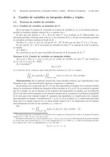 4. Cambio de variables en integrales dobles y triples. - IMERL