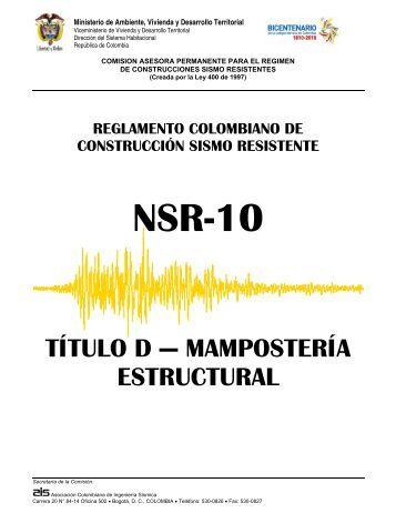 NSR-10 – Título D – Mampostería estructural - Ing Davir Bonilla