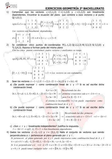 EJERCICIOS GEOMETRÍA 2º BACHILLERATO