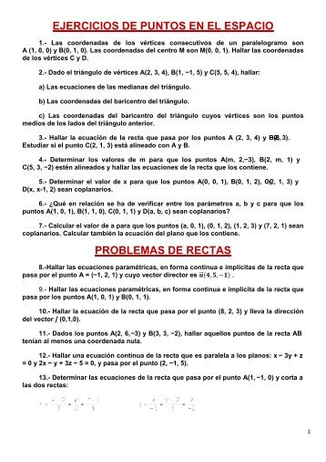 EJERCICIOS DE PUNTOS EN EL ESPACIO ... - Amolasmates