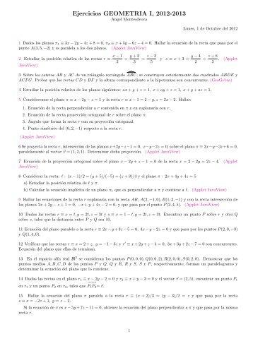 Ejercicios GEOMETRIA I, 2012-2013 - Geometría
