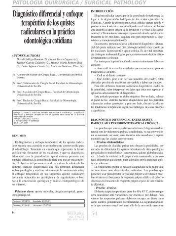 Diagnóstico diferencial y enfoque terapéutico de los ... - Medicina Oral
