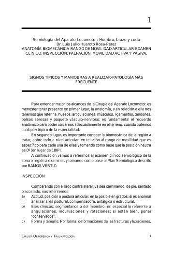 Semiología del Aparato Locomotor: Hombro, brazo y codo Dr. Luis ...