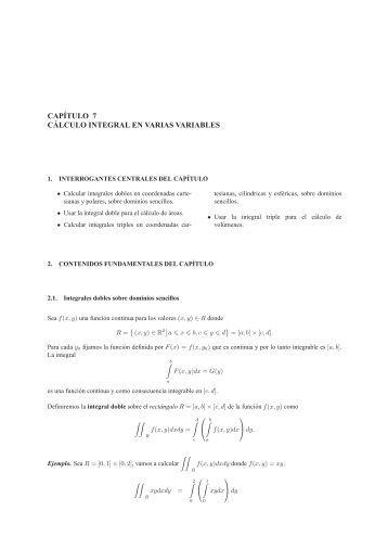 CAPÍTULO 7 C ´ALCULO INTEGRAL EN VARIAS VARIABLES