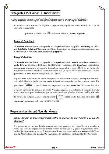 Integrales Definidas e Indefinidas ¿Cómo calcular ... - Telefonica.net