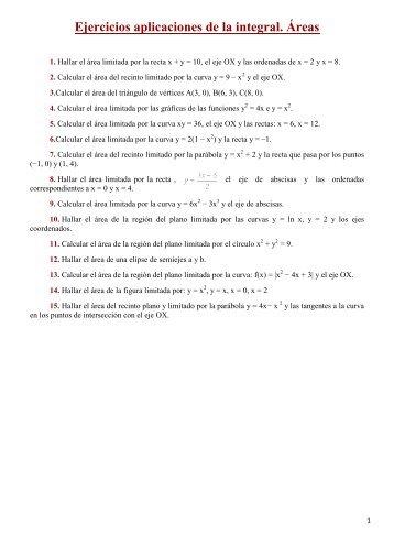 Ejercicios aplicaciones de la integral. Áreas - Amolasmates