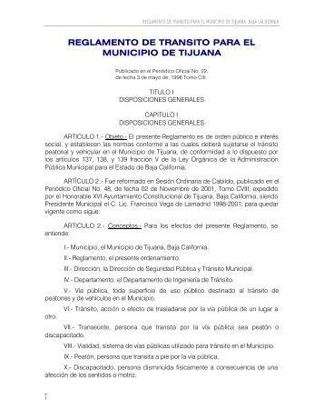 REGLAMENTO DE TRANSITO DEL MUNICIPIO DE TIJUANA