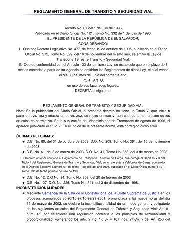 reglamento general de transito y seguridad vial - sertracen