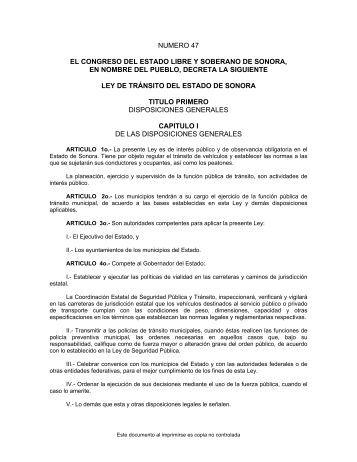 ley de transito del estado de sonora - Sección 54 del S.N.T.E.